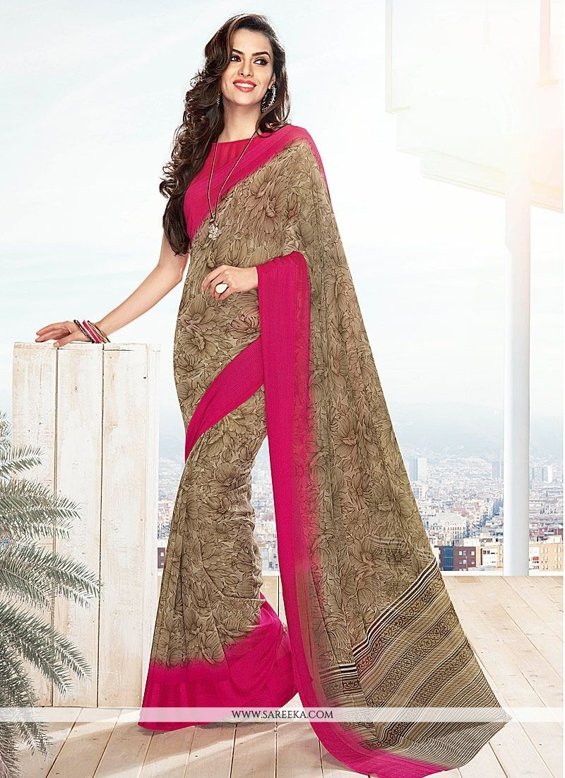 Lace Work Brown Casual Saree
