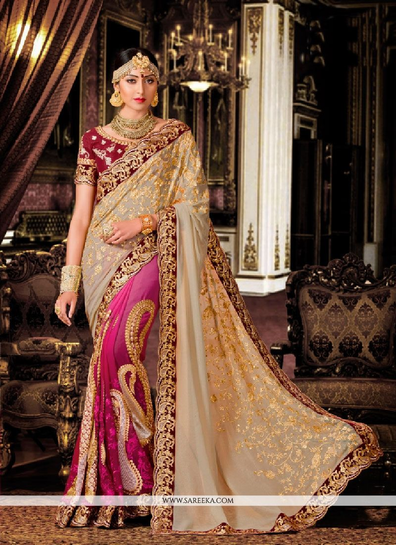 Beige and Magenta Patch Border Work Classic Designer Saree