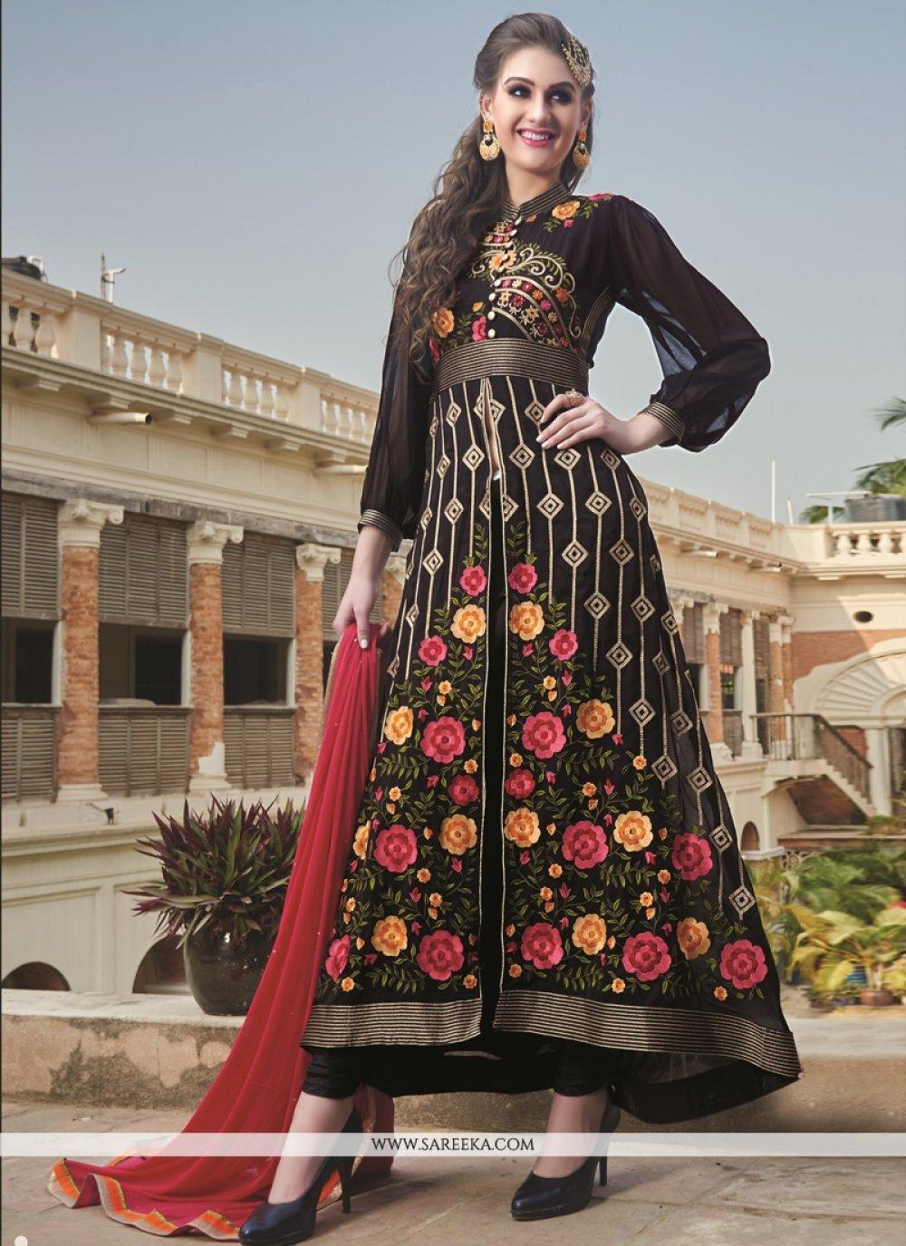 Embroidered Work Georgette Designer Salwar Kameez
