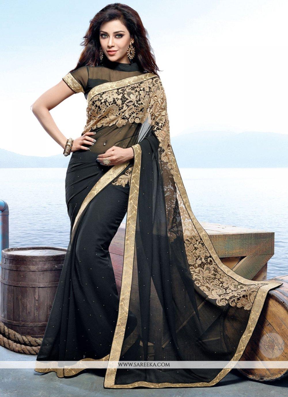 Faux Chiffon Black Designer Saree