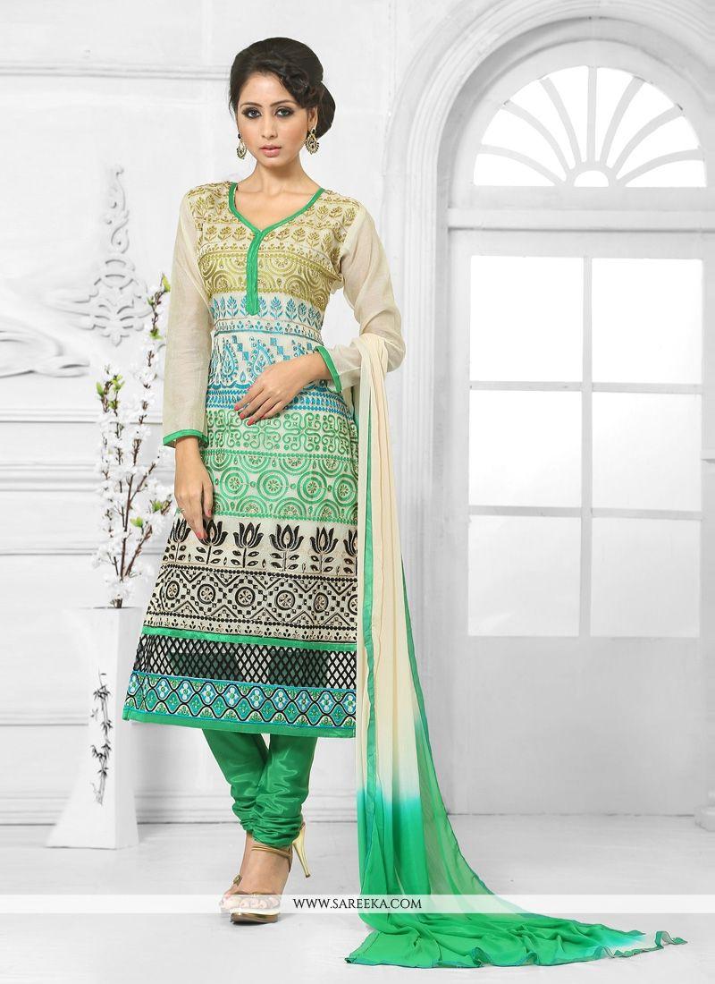 Green and Cream Churidar Salwar Kameez