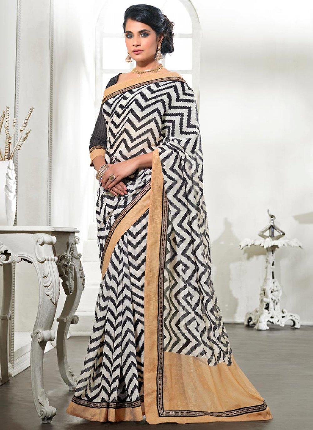 Black Printed Silk Saree