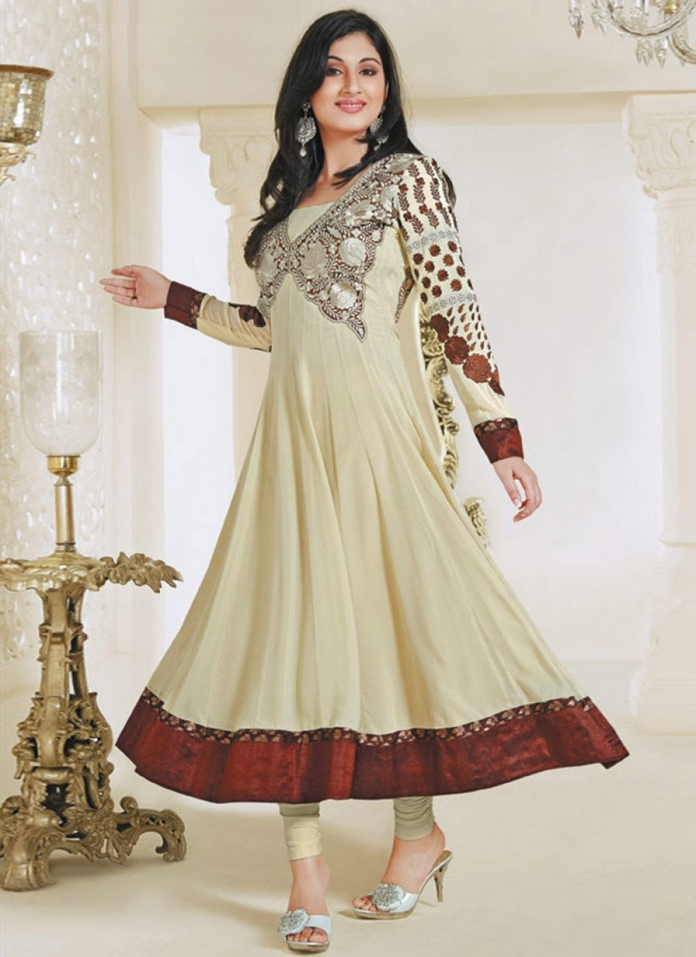 Cream Embroidery Work Anarkali Suit