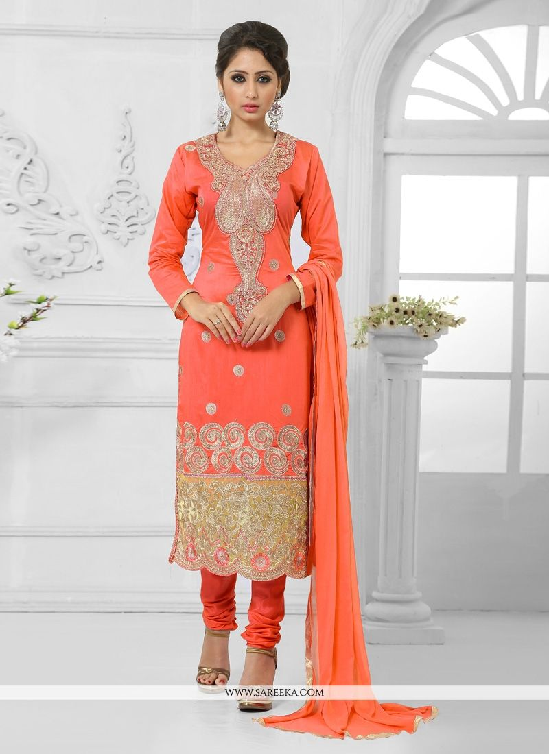 Embroidered Work Cotton   Churidar Salwar Suit