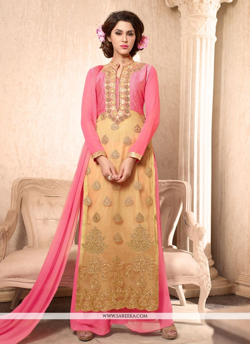 Embroidered Work Georgette Cream Designer Palazzo Salwar Kameez