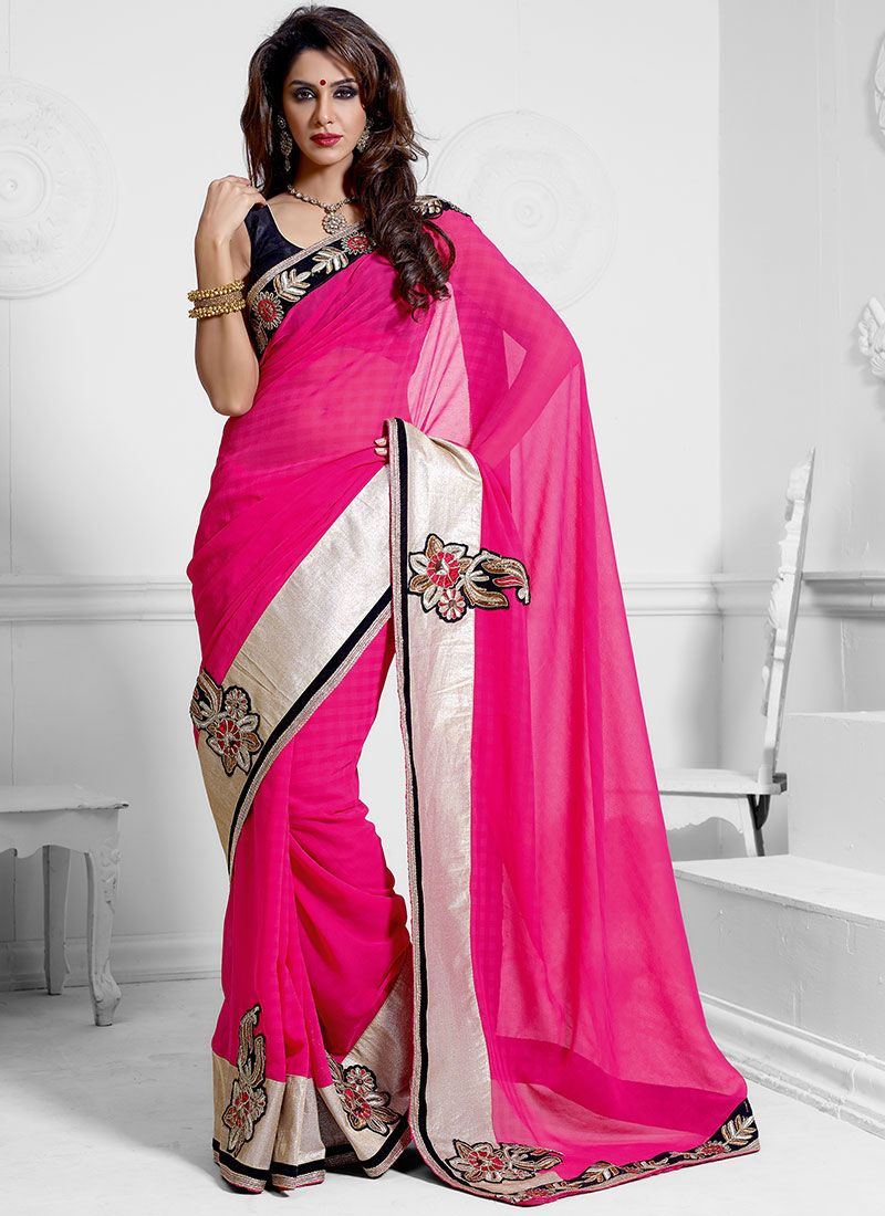Hot Pink Faux Chiffon Saree