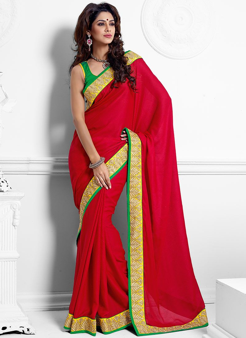 Daring Red Crepe Casual Saree