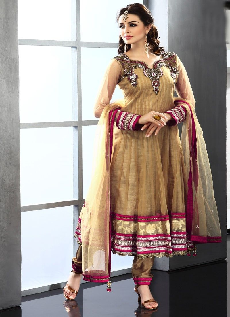 Dark Beige Net Anarkali Suit