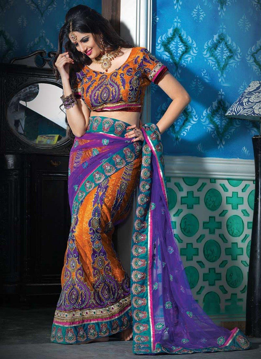 Dark Blue and Dark Orange Net Lehenga Style Saree
