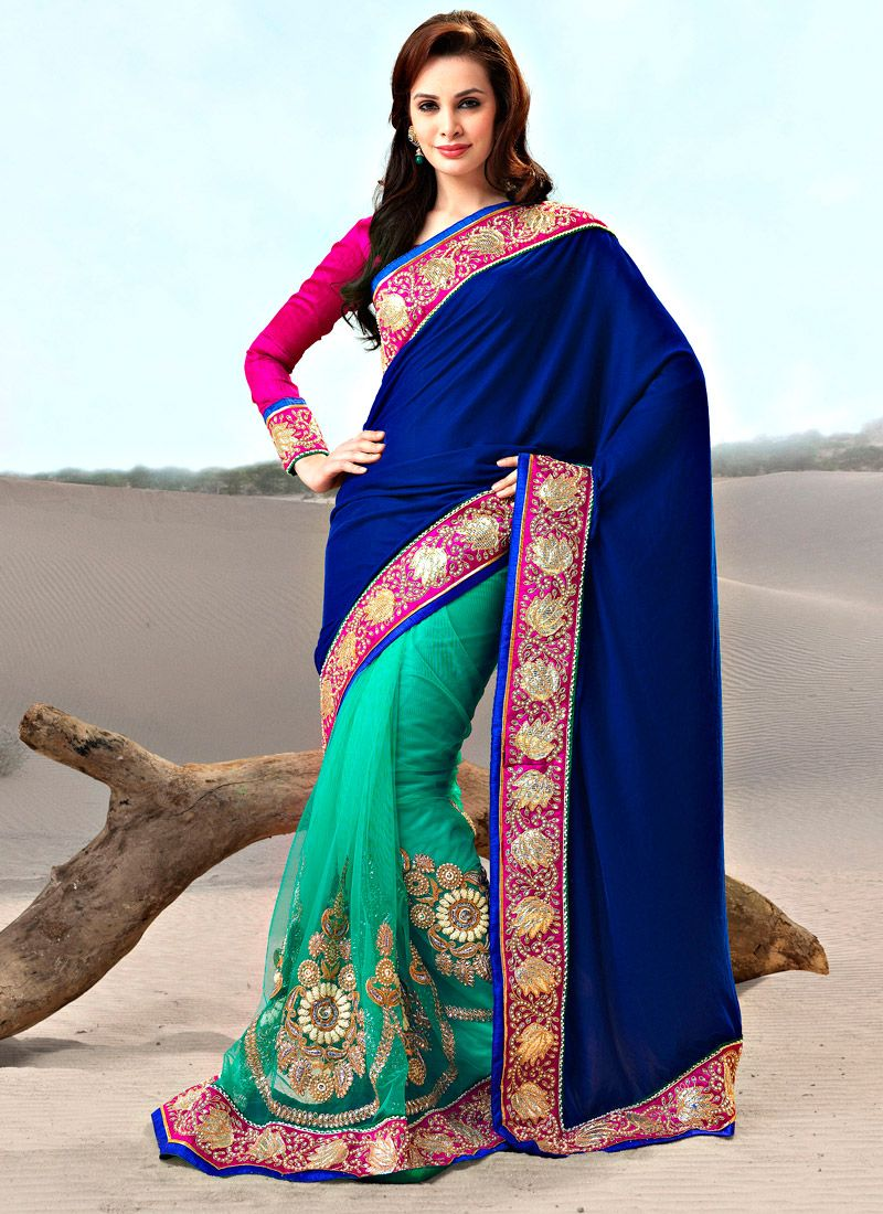 Dark Blue And Turquoise Half N Half Saree