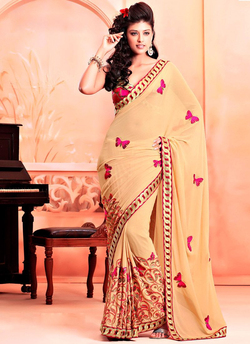 Dark Cream Faux Georgette Saree