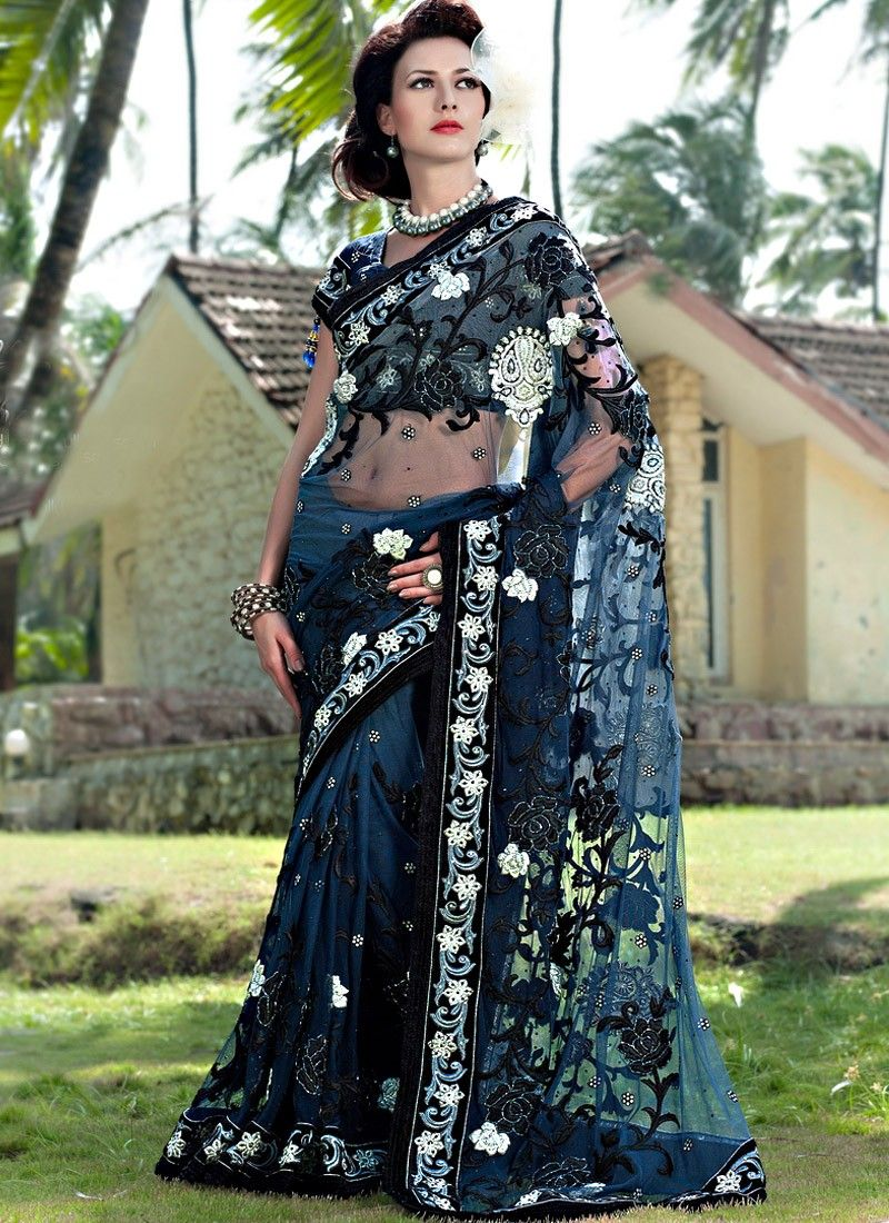 Dark Gray Net And Embroidered Saree