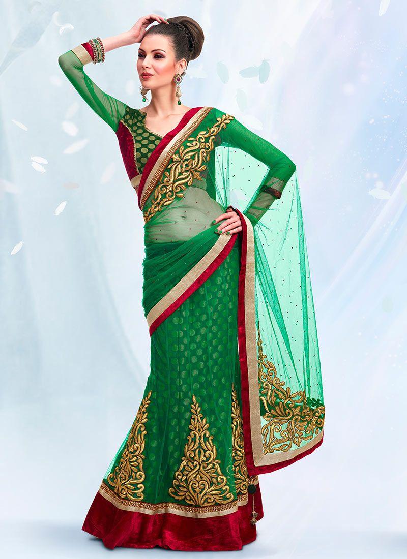 Dark Green Viscose And Net Lehenga Style Saree
