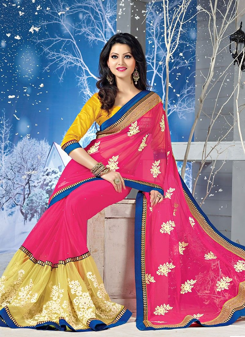 Dark Magenta Embroidery Work Georgette And Net Saree