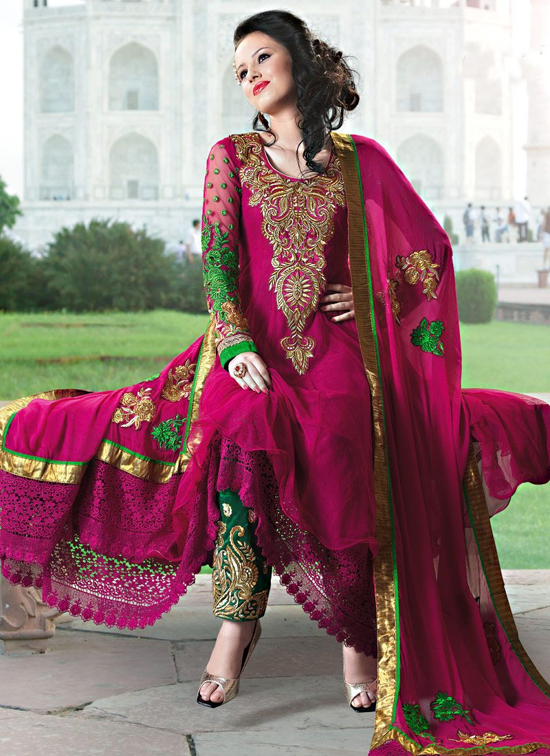 Dark Magenta Net Churidar Suit