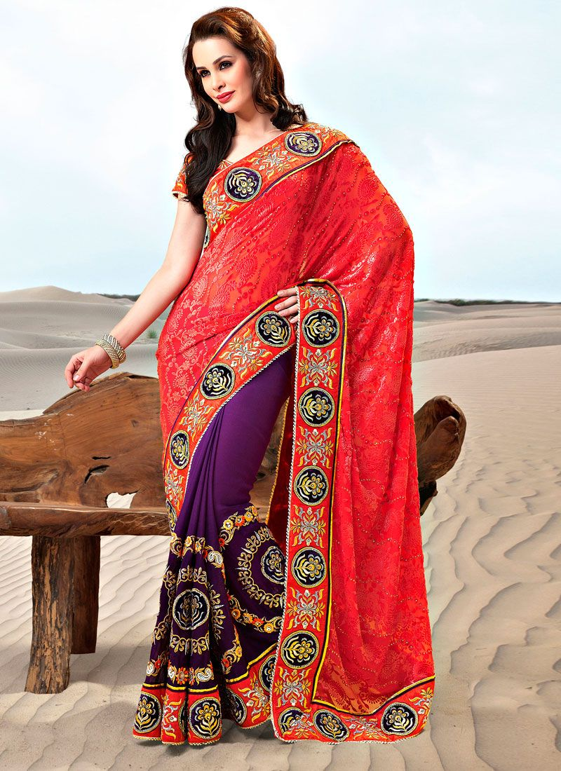 Dark Orange,Purple Georgette and Jacquard Saree
