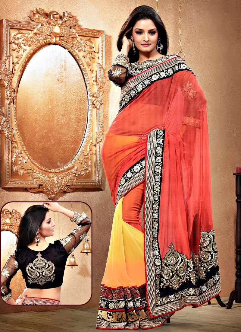 Dark Peach And Light Yellow Georgette Saree