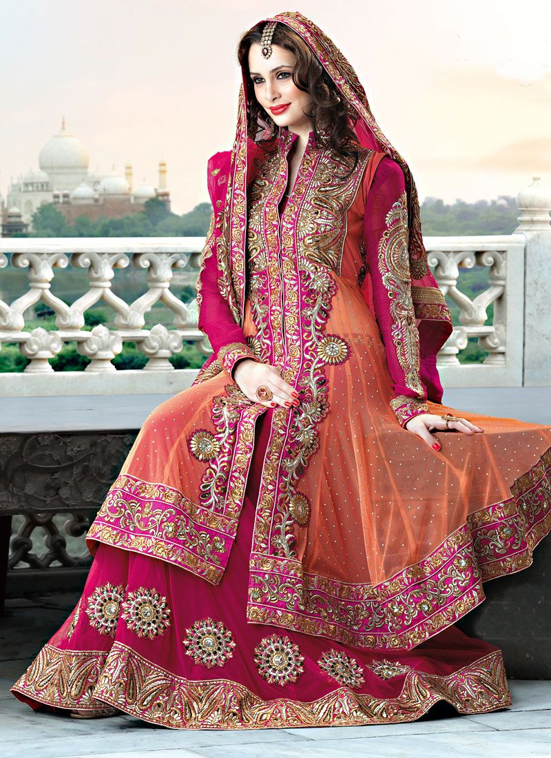 Dark Pink And Orange Net Lehenga Choli