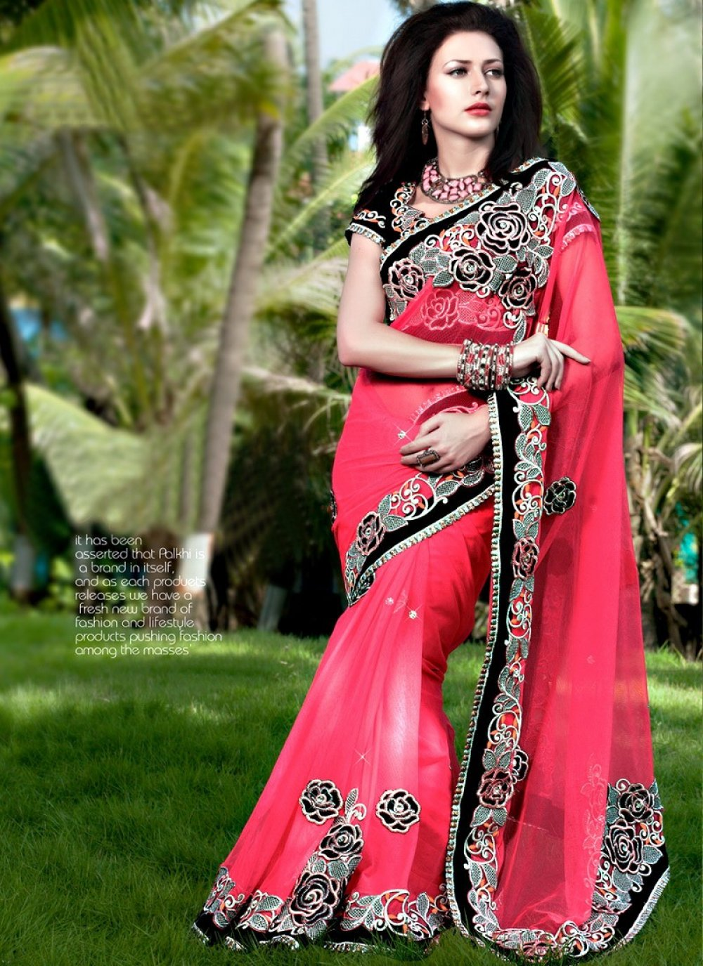 Dark Pink Net Embroidered Casual Saree