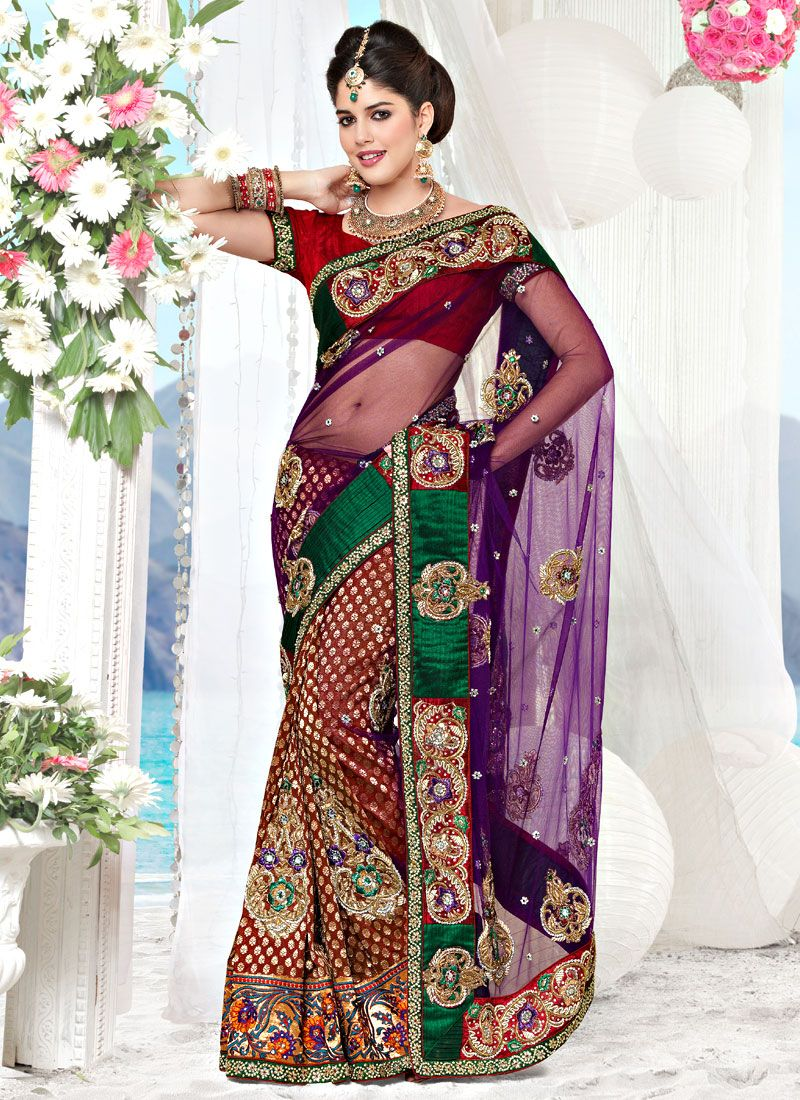 Dark Purple and Maroon Net and Viscose Saree