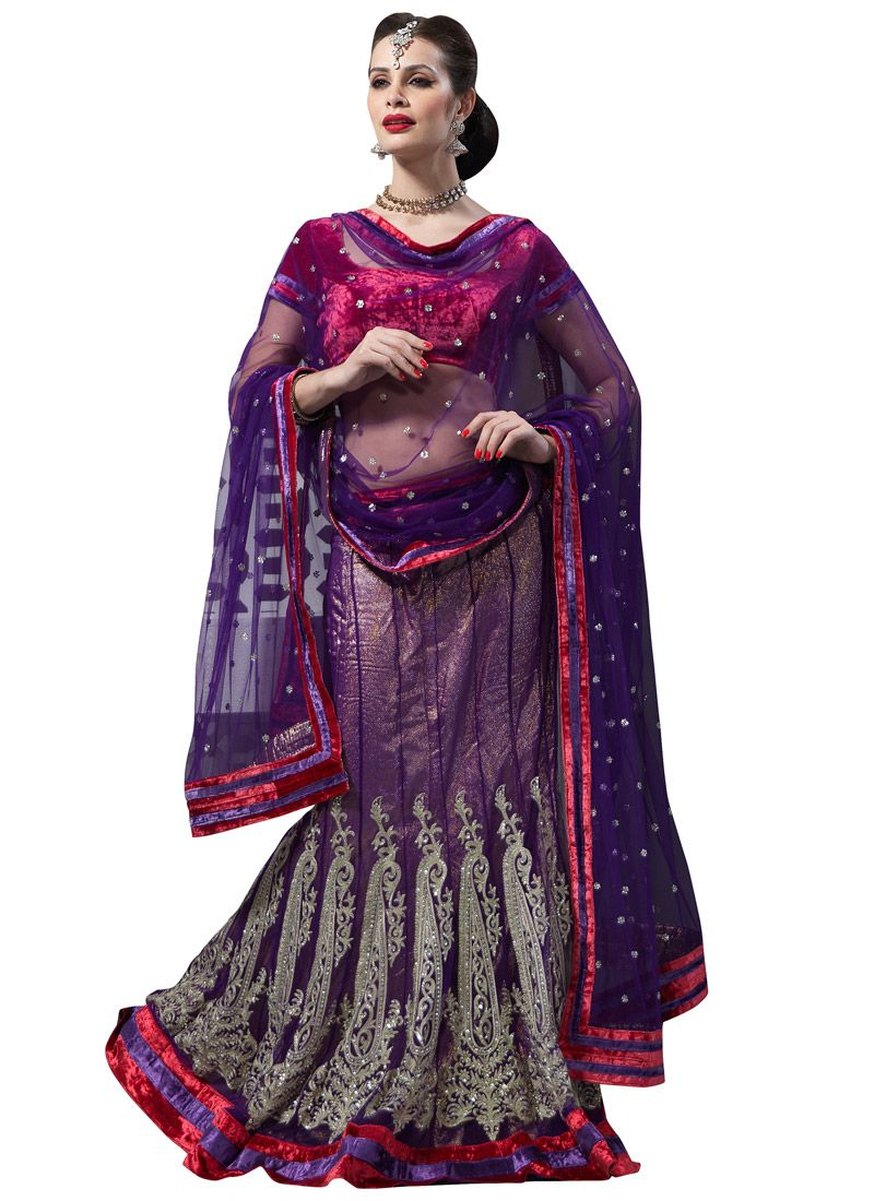 Dark Purple Net Flared Lehenga Choli with Dupatta