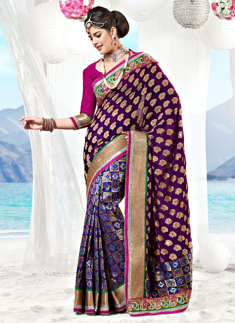 Dark Purple Viscose and Uppada Saree