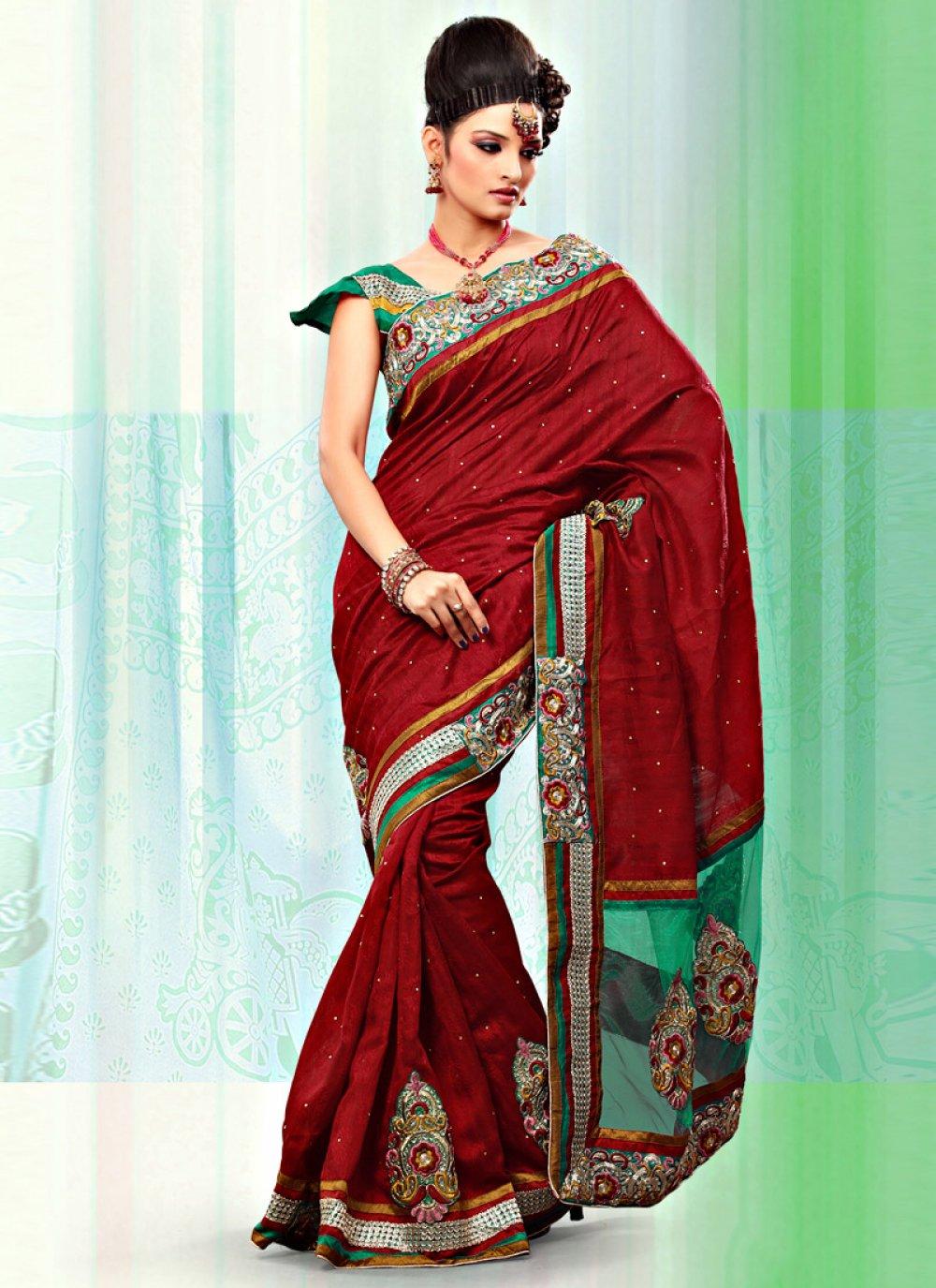 Dark Red Art Bhagalpuri Jacquard Silk And Net Saree