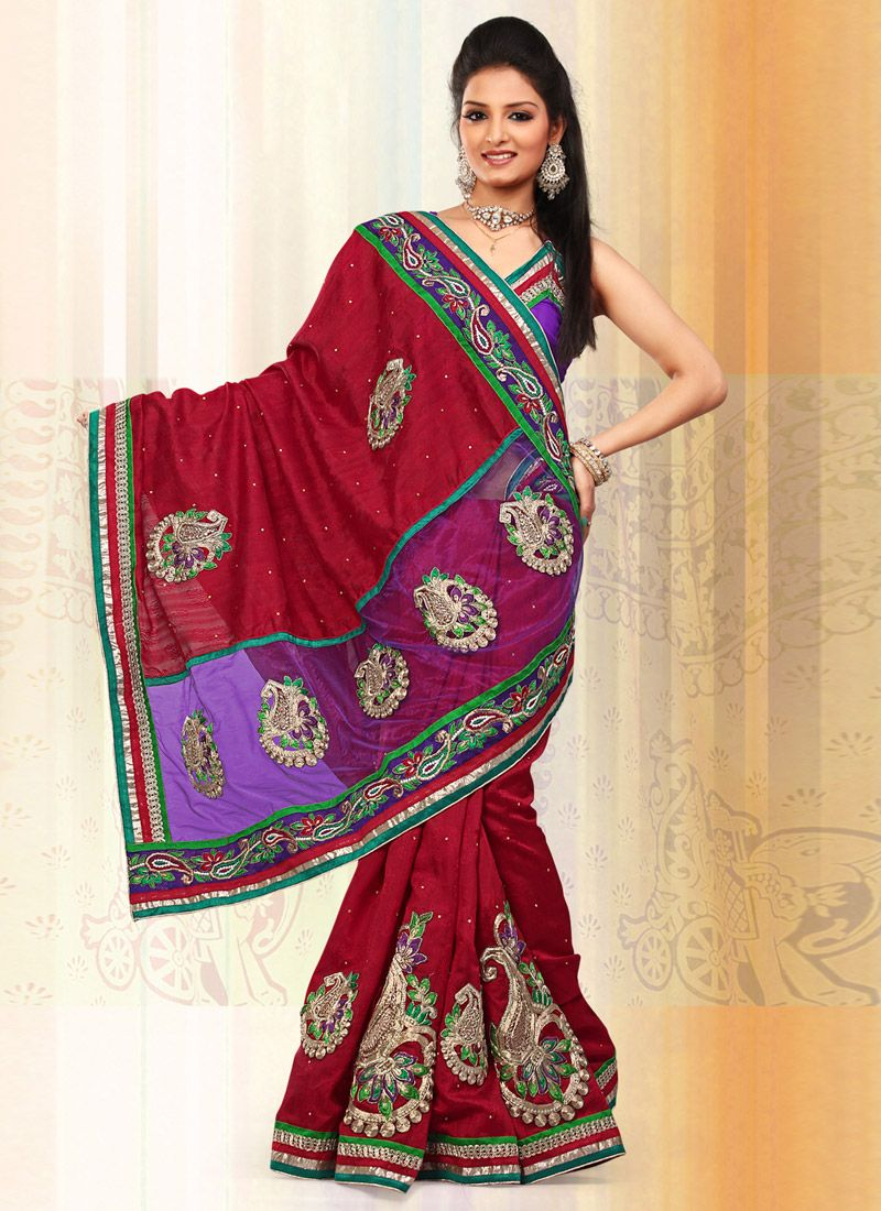 Dark Red Art Bhagalpuri Jacquard Silk Net Saree