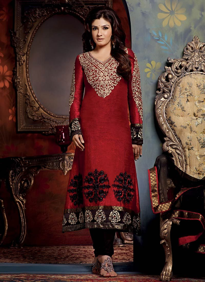 Dark Red Art Silk Churidar Suit