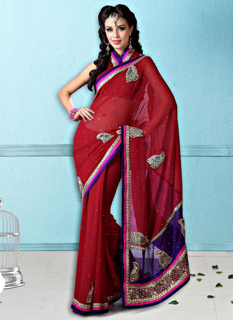 Dark Red Faux Chiffon Saree