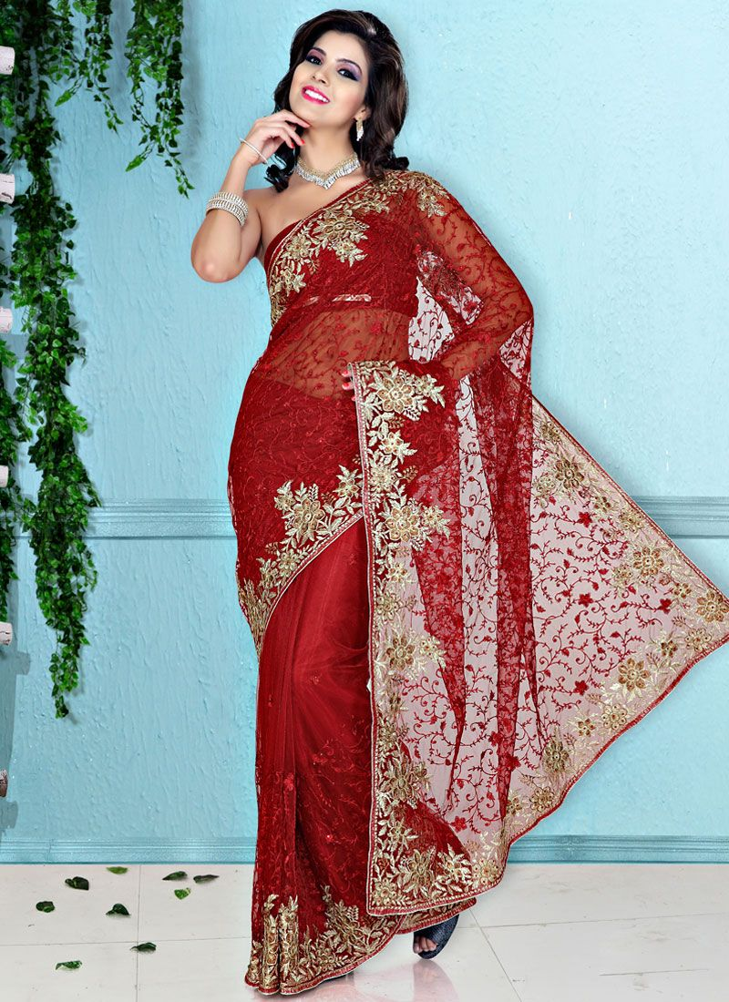 Dark Red Net Embroidered Saree