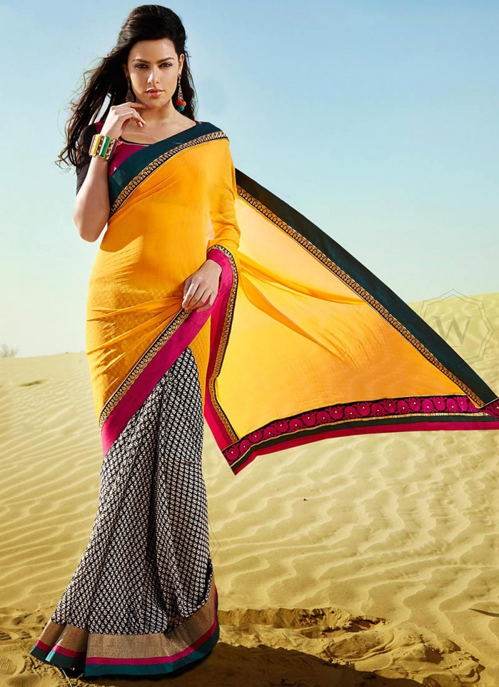 Dark Yellow And Black Patch Border Faux Georgette Saree
