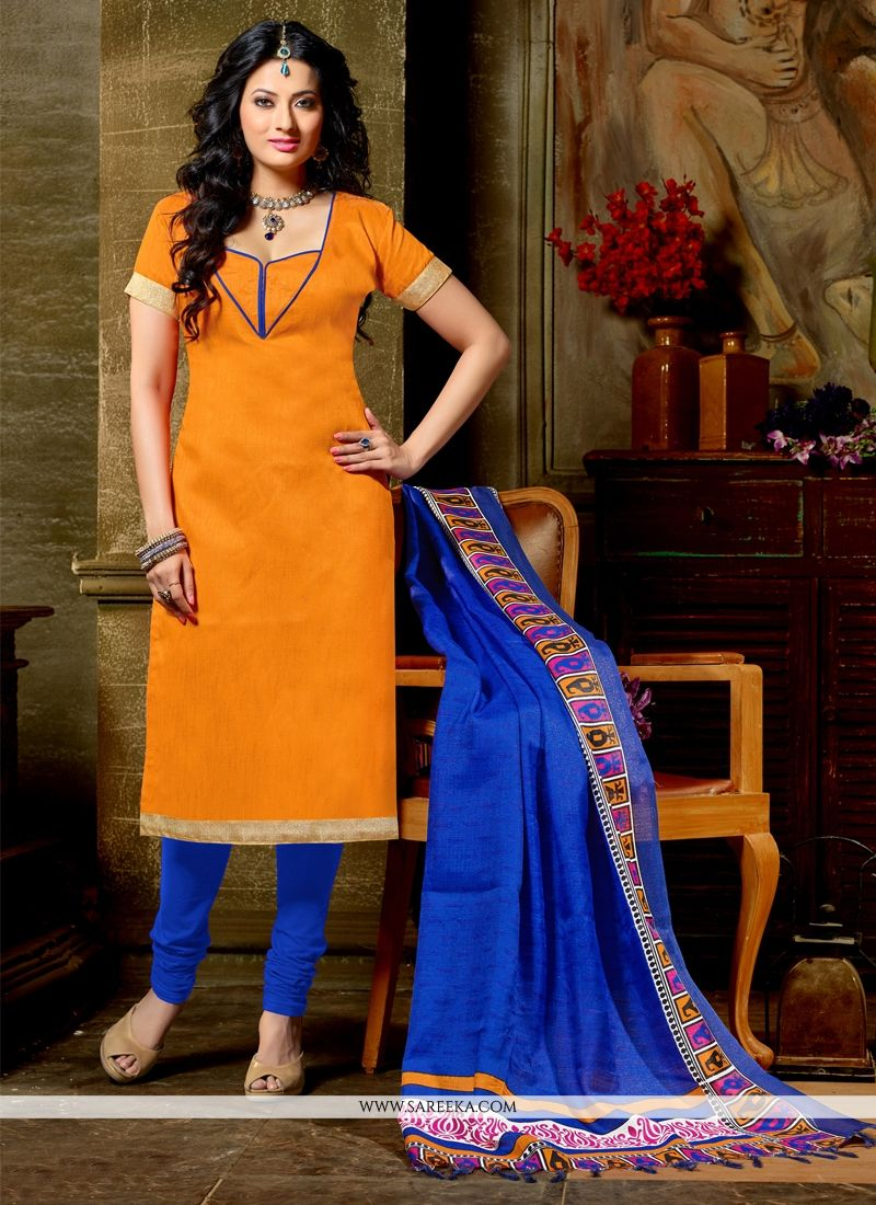 Banglori Silk Orange Churidar Designer Suit