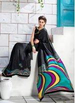 Black Crepe Silk Casual Saree