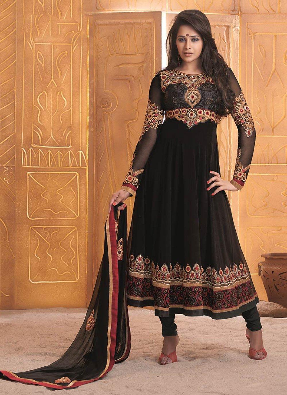 Black Zari Faux Georgette Anarkali Suit