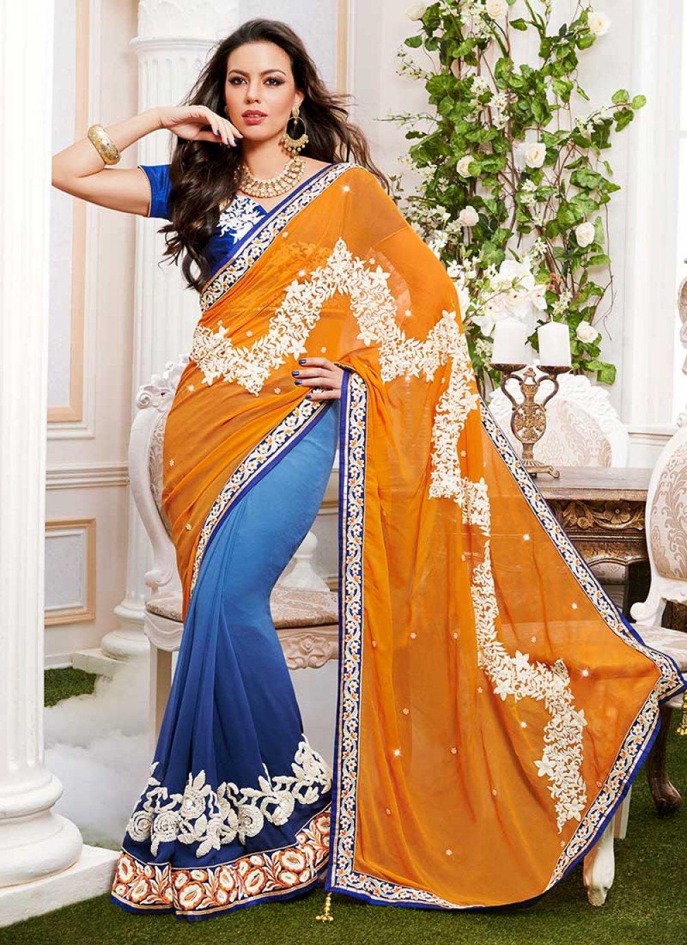 Blue And Orange Half And Half Saree