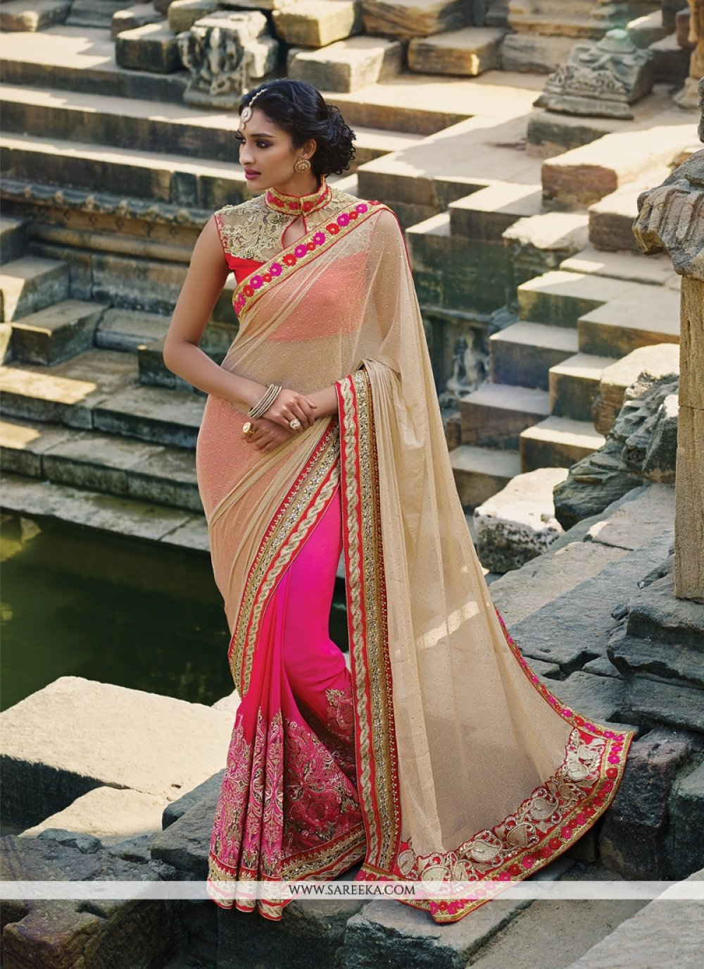 Hot Pink Patch Border Work Lycra Designer Saree