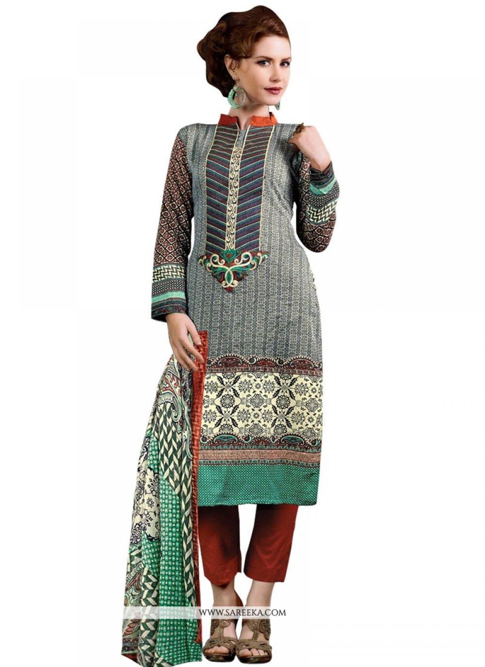 Multi Colour Print Work Cotton Satin Designer Suit