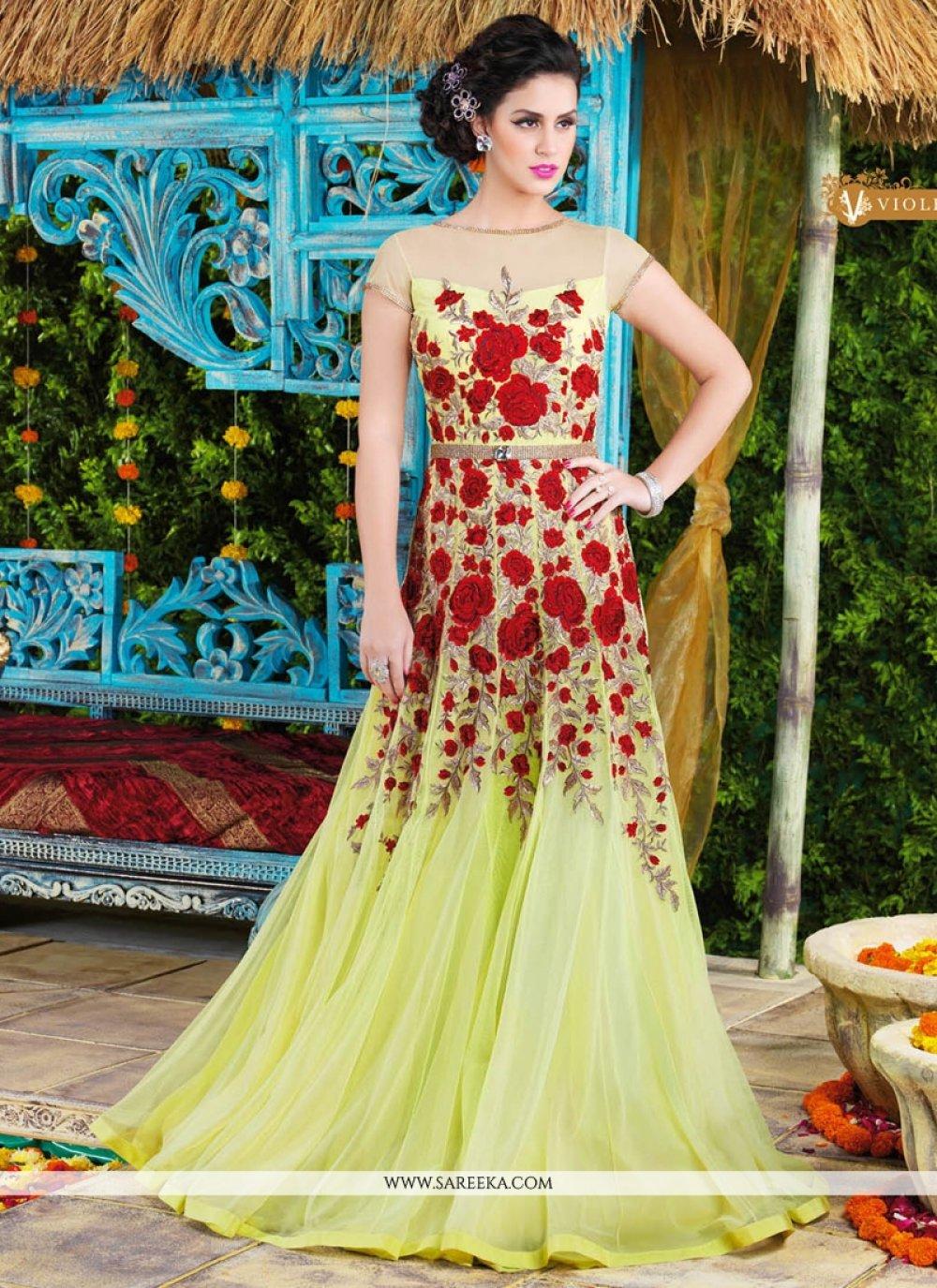 Net Yellow Floor Length Anarkali Salwar Suit
