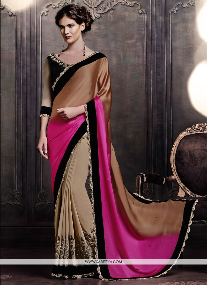 Satin Patch Border Work Designer Saree