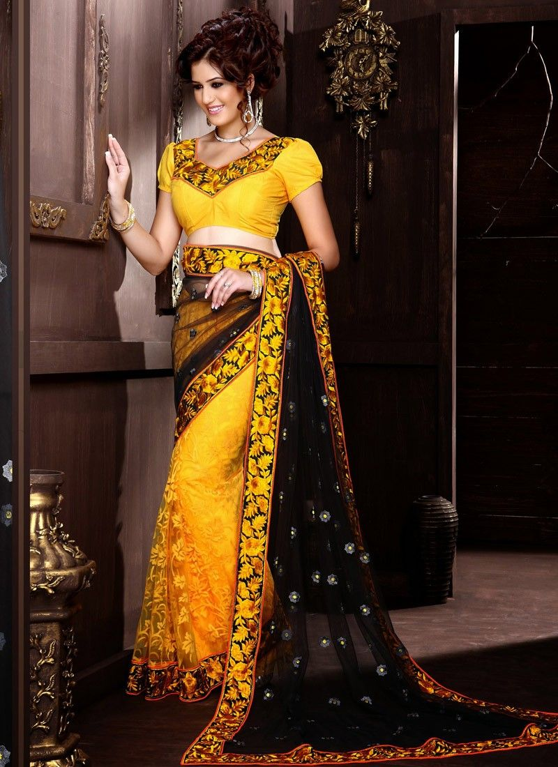 Yellow And Black Floral Work Net Half And Half Saree