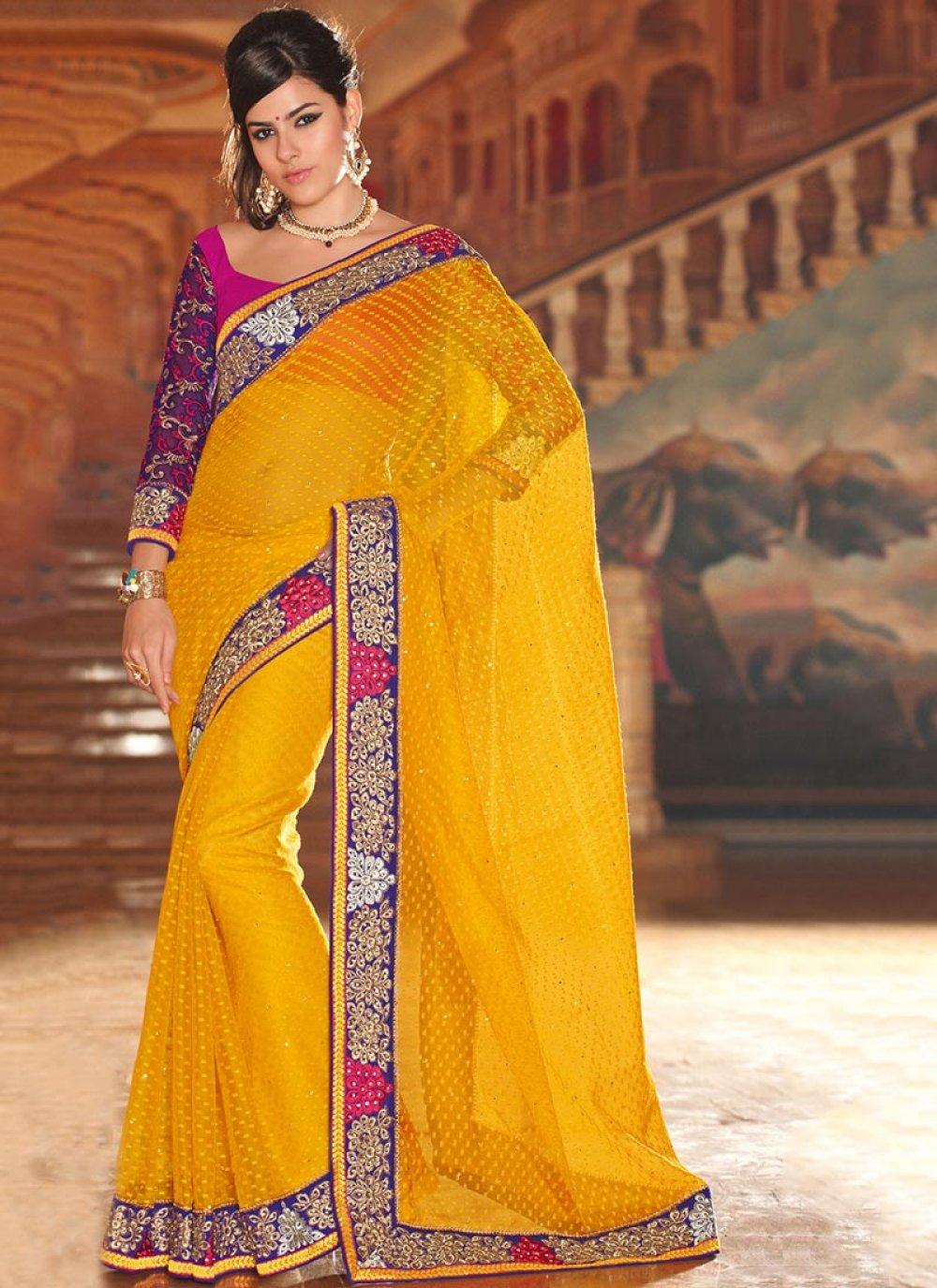 Yellow Net Jacquard Saree