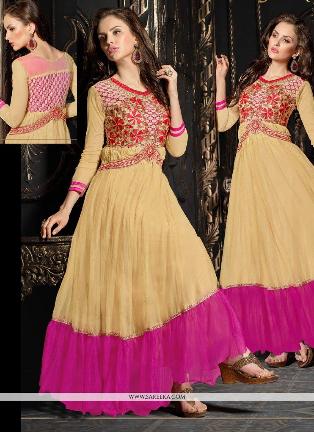 Beige And Pink Net Anarkali Suit