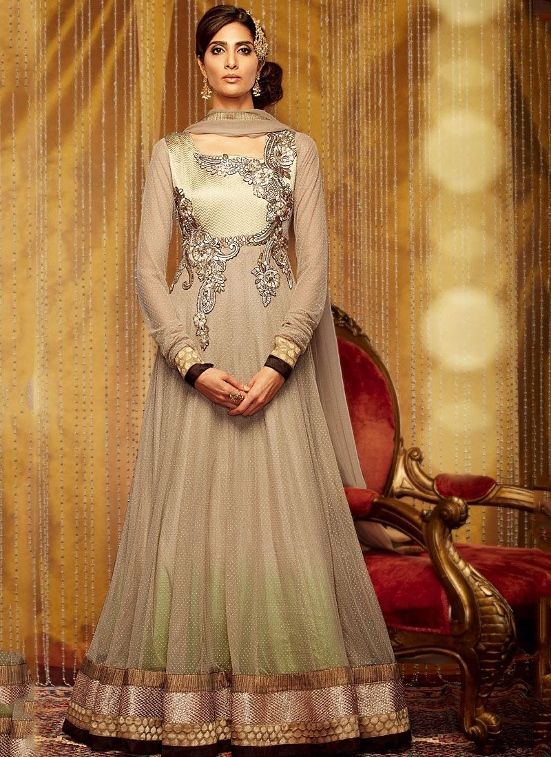 Beige Stone Work Net Anarkali Suit