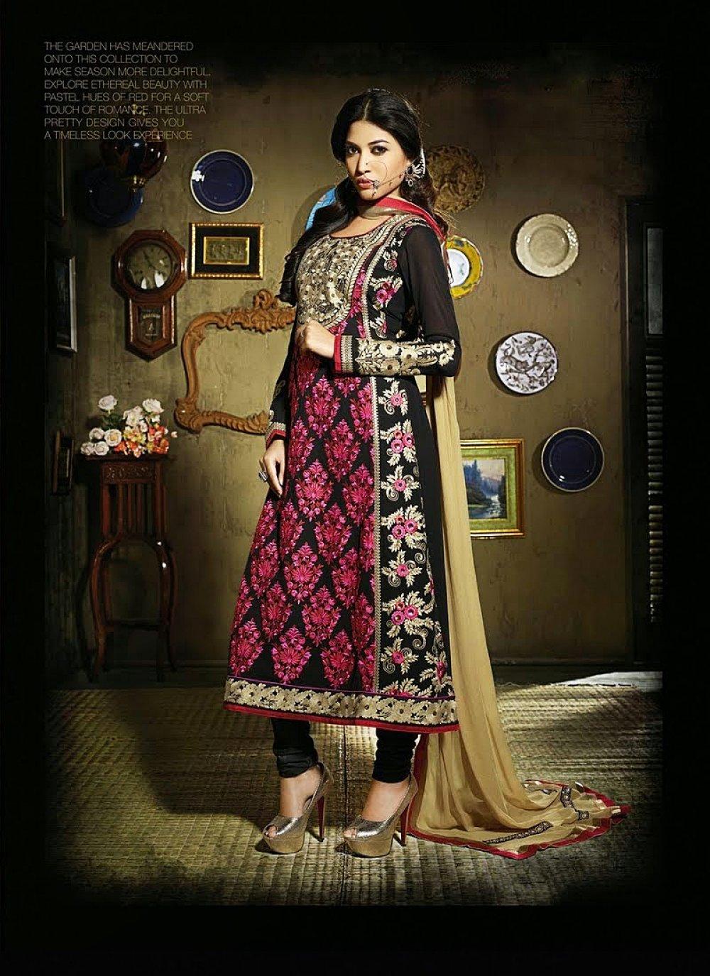 Black And Magenta Resham Work Anarkali Salwar Suit