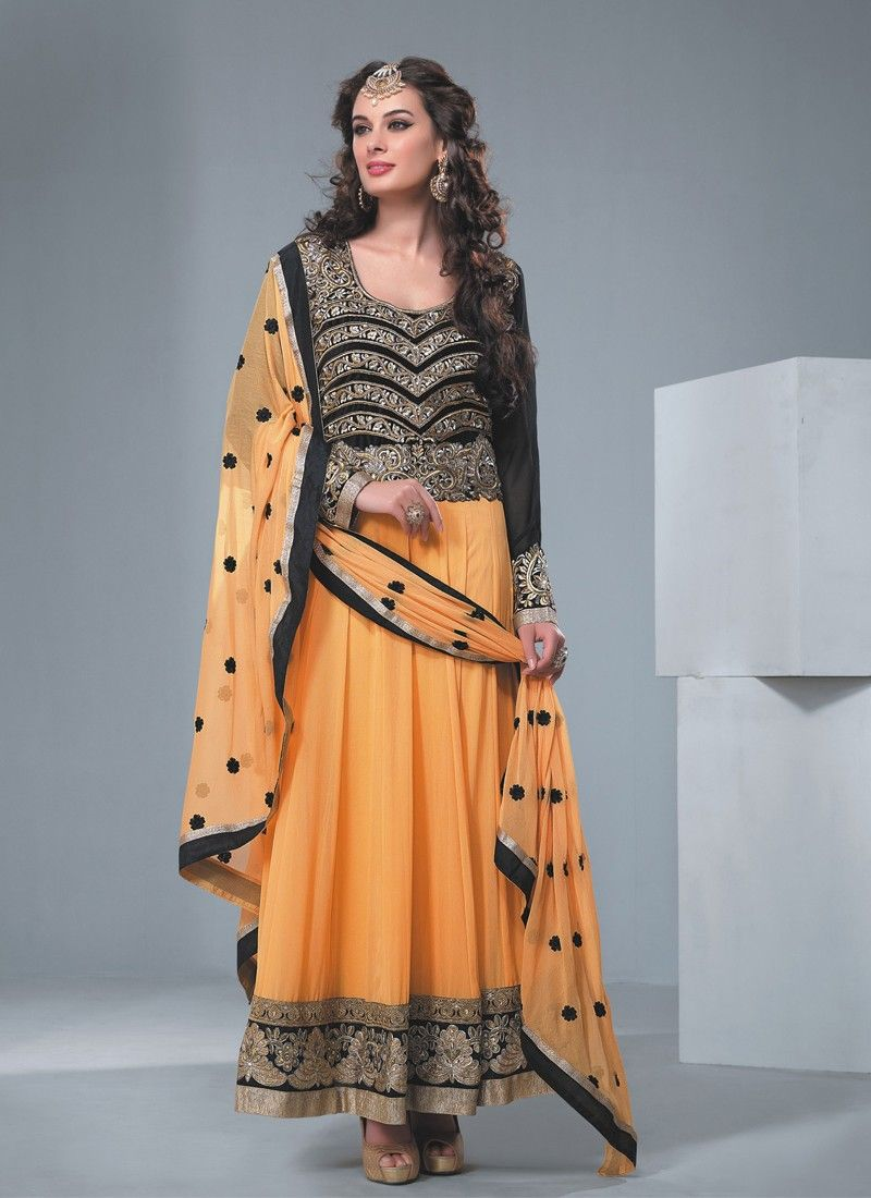 Black And Orange Embroidery Work Anarkali Suit