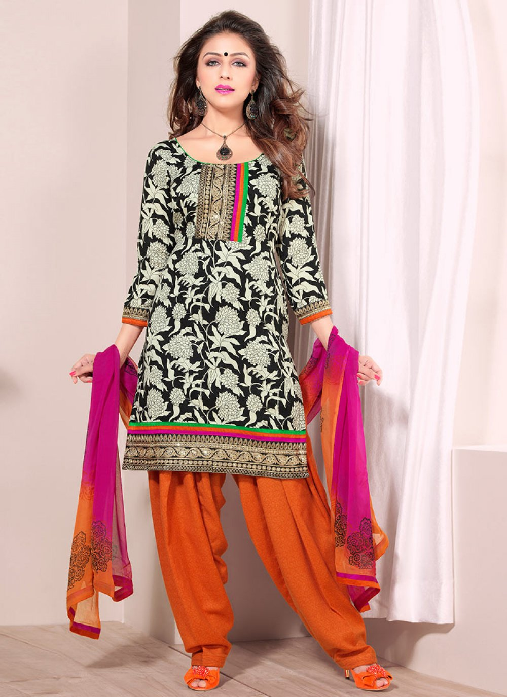 Black And Orange Printed Salwar Suit