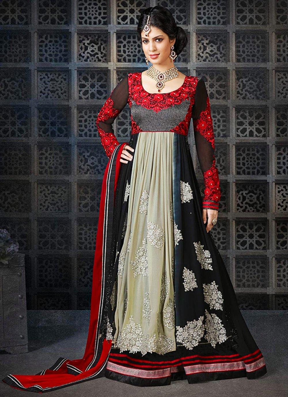 Black And Red Resham Georgette Anarkali Suit