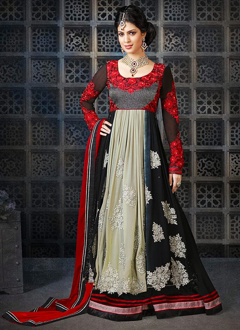 Black And Red Resham Georgette Anarkali Suit