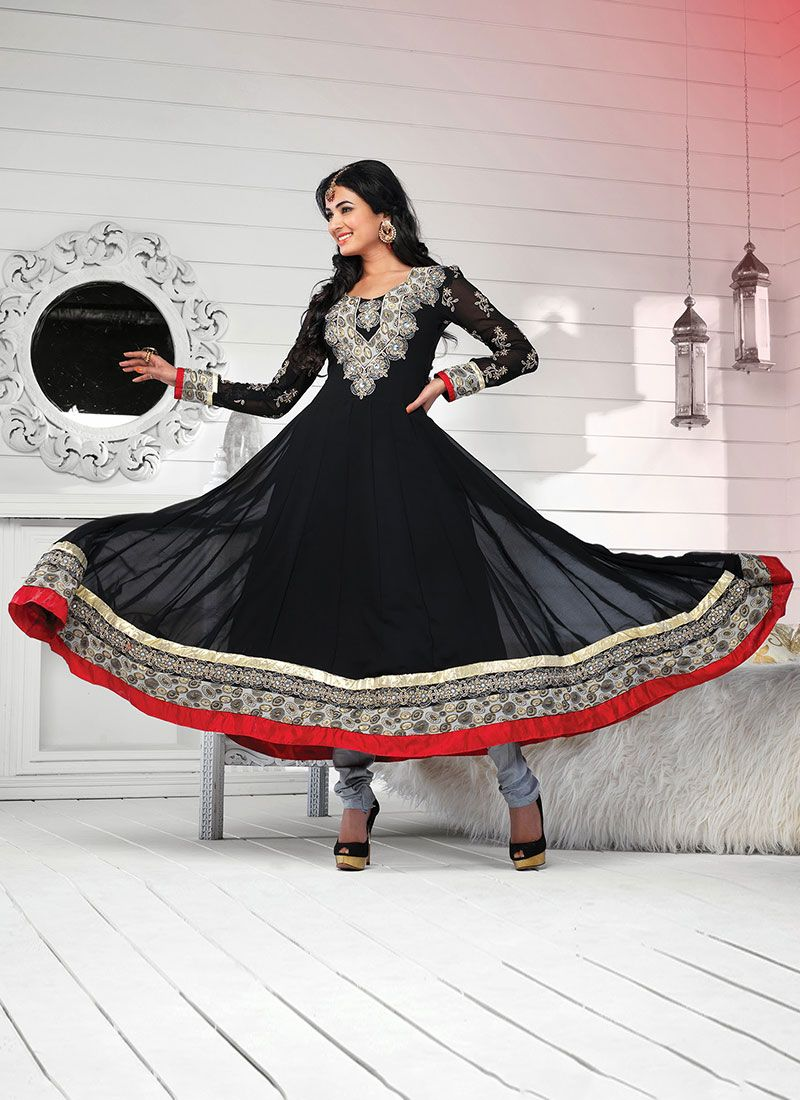 Black Embroidered Work Stylish Anarkali Suit